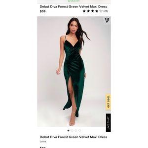Lulus Debut Diva Forest Green Velvet Maxi Dress(M)